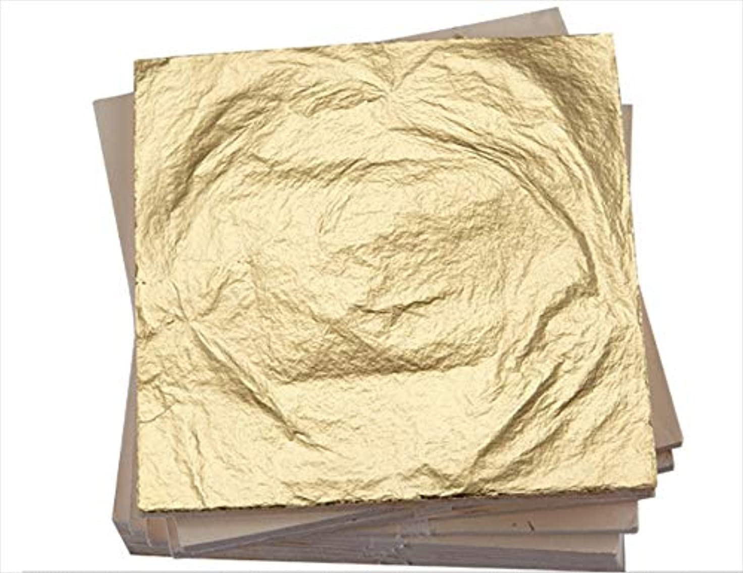 準拠アロング貫通する箔シート 金箔 フェイク ゴールド ゴールドリーフ 日本画用 工作用 ネイルチップ 14×14cm 100枚 (ゴールド)