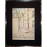 絵画 服部和三郎 リトグラフ 直筆サインあり 額装済 おしゃれインテリア 街角 風景画 景色 1983年