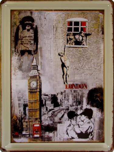 アメリカンブリキ看板 バンクシー グラフィティアート Banksy Graffiti Art サイズ:約30cm×約40cm。