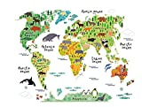 ふく福 人気 部屋で 動物の世界 テレビの壁 ドア ウォールステッカー, 動物の世界地図,壁や 部屋の装飾