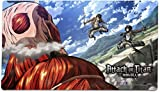 "Attack On Titan : Eren And Mikasa Battle Against the ColossalマウスパッドPlaymat ( 24 "" x 14 ""インチ) Officially Licensed by CWSメディア"