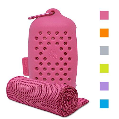 ASKARI 冷感タオル 冷却タオル クールタオル 速乾タオル 超吸水 軽量 スポーツタオル 熱中症対策 100×30cm 7色 (ピンク)