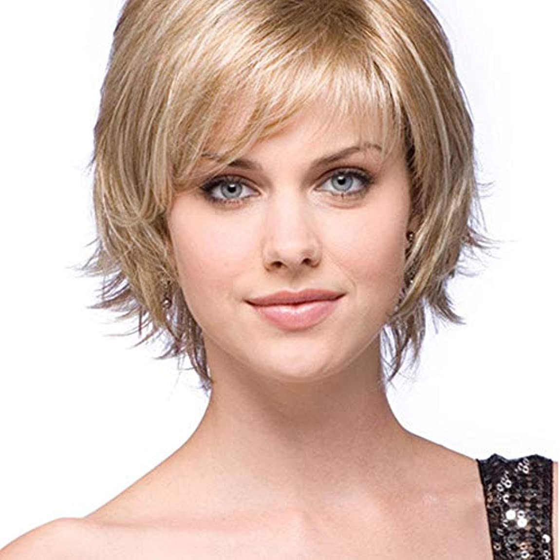 告発仮称タイマーYOUQIU 人工毛ブロンドの女性のデイリーかつら用ウィッグショートカーリーヘアウィッグボブ (色 : Blonde)