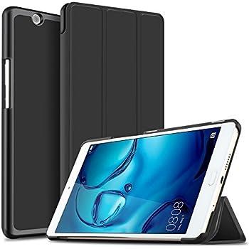 Huawei MediaPad M3 8.4 / NTT docomo dtab d-03G ケース 【KuGi】 スタンド機能付き Huawei MediaPad M3 8.4 カバー 三つ折型 薄型 軽量 傷つけ防止 スタンドカバー 内蔵マグネット開閉式 PUレザー HuaWei 8.4 Mediapad M3 タブレットPC スマートケース ブラック