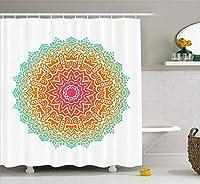 Yeussマンダラシャワーカーテン、幾何学的な形の内側の円のイメージ印刷、フック付きファブリック浴室装飾セット、多色で装飾用レトロパターン