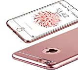 【ZOZ】【PJ-008】iPhone6/6Plusケース 6S/6SPlusケース TPUメッキ加工 超薄型耐衝撃 最軽量 一体型 耐久性が高い 電波影響無し 取り出し易い クリアタイプ TPU カバー アイフォン6s/6/plus対応 全三色 (4.7, ローズゴールド)