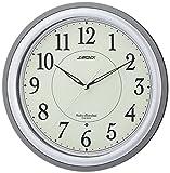 LANDEX 壁掛け時計 ルナセーブ 電波時計 全面蓄光 グレー YW9143GY