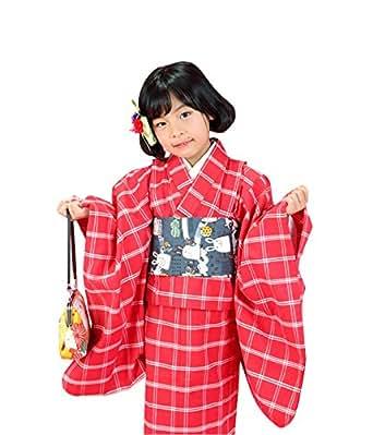 [ 京都きもの町 ] 木綿着物 木綿 着物 女の子 こども 木綿着物「赤色×白色 格子」120cm 130cm 140cm 女の子 着物 ジュニア着物、キッズ...