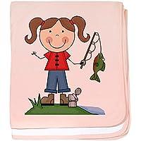 CafePress – 釣りガール – スーパーソフトベビー毛布、新生児おくるみ ピンク 06606943626832E