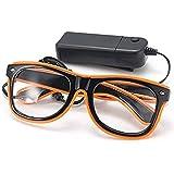 TOOGOO LED ライトメガネ パーティーのおもちゃメガネ オレンジカラー