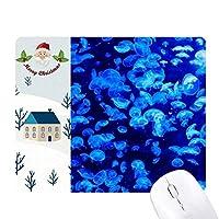 ブルーの科学は自然くらげの海の写真 サンタクロース家屋ゴムのマウスパッド