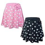 (ピンク/110cm) 子供服 女の子 フレア スカート ボトム 花柄 リボン装飾 ウエストゴム 女児 キッズ