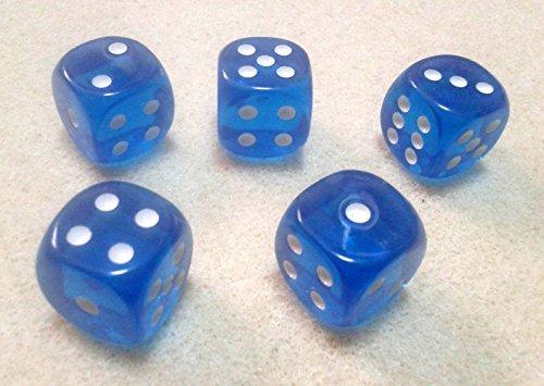 ダイス/サイコロ 16mm ラウンドコーナー 半透明ブルー(青) 5個セット