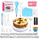 Cake Decorating Equipment, SPLAKS 106pcs Cake Decorating Set Cupcake Decorating Kit Baking Supplies with Nonslip Turntable Stand, 54 Numbered Icing Tips and Frosting Tools for Cake DIY