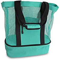 Beach Tote Bag with Cooler, biwiti Insulated Mesh Tote Double Layer Mesh Tote Bag for Picnic Travel Swimming and Camping
