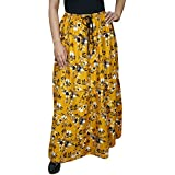 Womens Boho Summer Skirt Ginevra Yellow Flowy Rayon Maxi Skirts Large