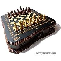 高級チェスセット、木製Sheesham Chessmen、手作りボードwith Drawer