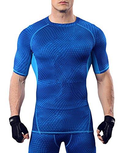 (オナー)HONOUR メンズ スポーツシャツ コンプレッションウェア MA20 ブルー M