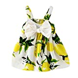Cutelove 子供服 ドレス 女の子 ガールズ 綿 夏 キッズ 可愛い ノースリーブ 大きな蝶結び レモン プリンティング スリングドレス ワンピース プリンセスドレス