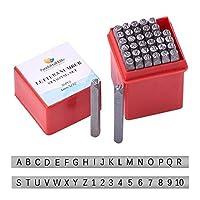 PandaHall Elite 36個アイアン番号パンチ、アルファベットA〜Zと数字0〜9のシールスタンプ、黒、4 mmアルファベットと数字