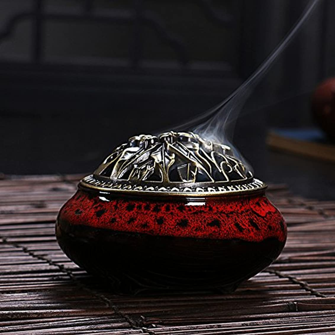 空白かすれたインタラクションセラミック ホームデコレーション インセンススティック コーン バーナー 磁器 香炉 onesize Ice-Incense Burner-Jesper Red