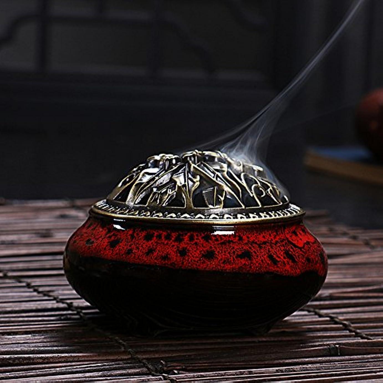 ケイ素磨かれた勉強するセラミック ホームデコレーション インセンススティック コーン バーナー 磁器 香炉 onesize Ice-Incense Burner-Jesper Red