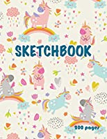 "Unicorn Sketchbook 200 pages: Cute Unicorn Kawaii Sketchbook for Girls with 200 Pages of 8.5""x11"" Blank Paper for Drawing, Doodling or Learning to Draw (Sketch Book For Kids)"