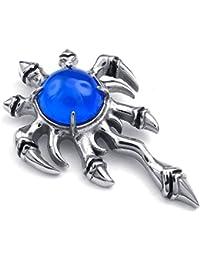 [テメゴ ジュエリー]TEMEGO Jewelry メンズキュービックジルコニアステンレススチールヴィンテージペンダントゴシックスカルクローネックレス、ブルーシルバー[インポート]