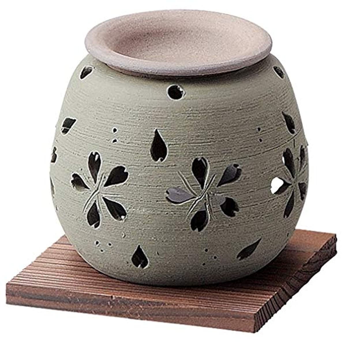 合理化褒賞構造お部屋の消臭に!■常滑焼【茶香炉】石龍作 緑桜茶香炉