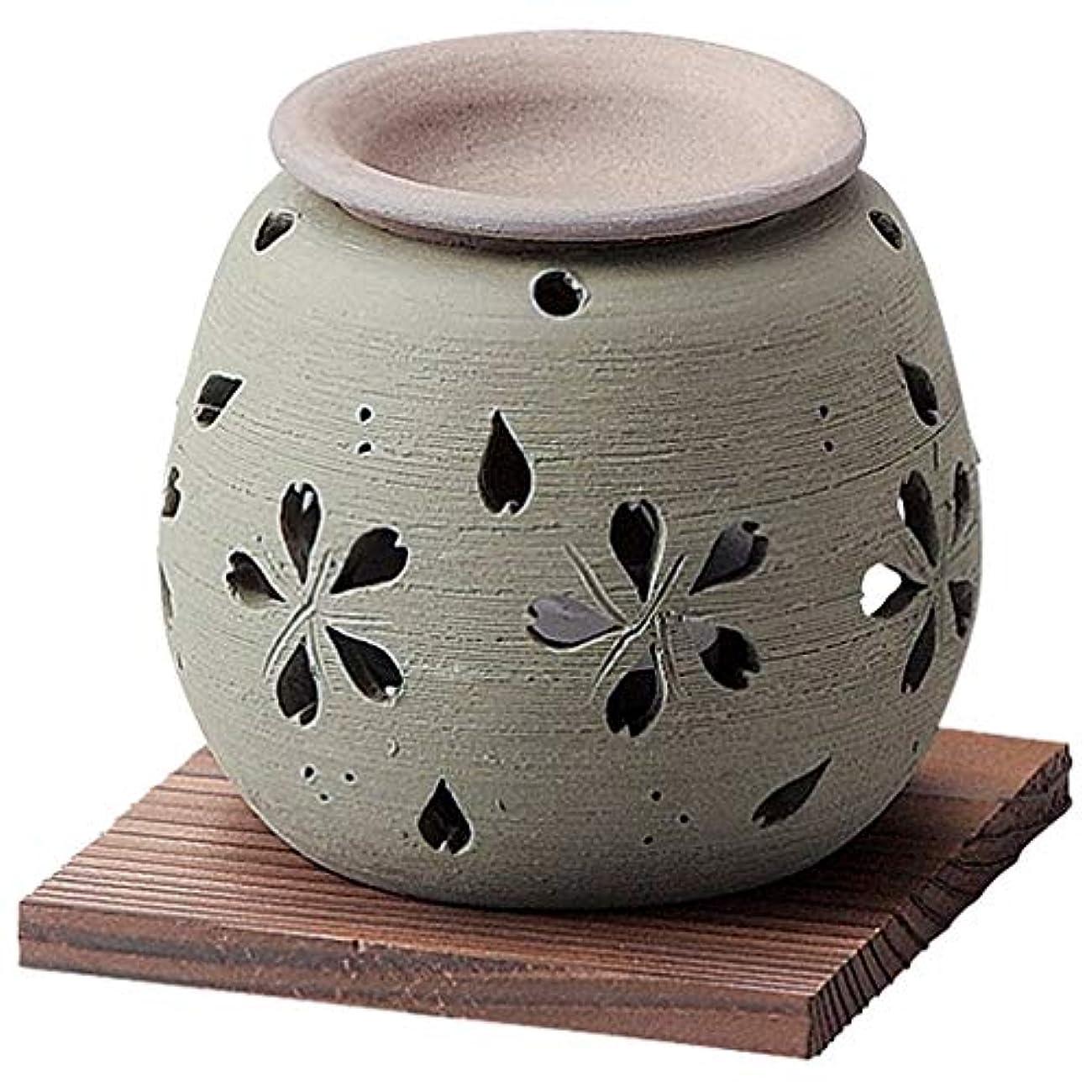 葉女性我慢するお部屋の消臭に!■常滑焼【茶香炉】石龍作 緑桜茶香炉