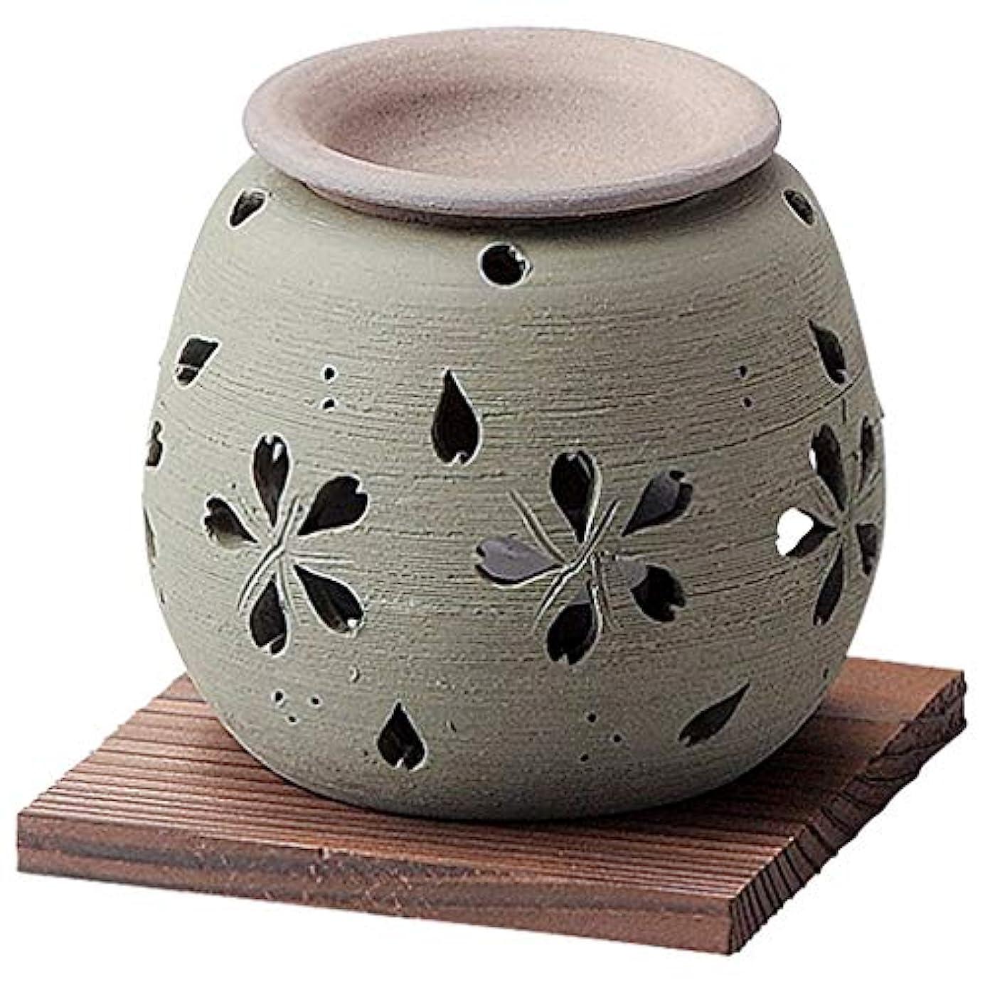 霜レジバーマドお部屋の消臭に!■常滑焼【茶香炉】石龍作 緑桜茶香炉