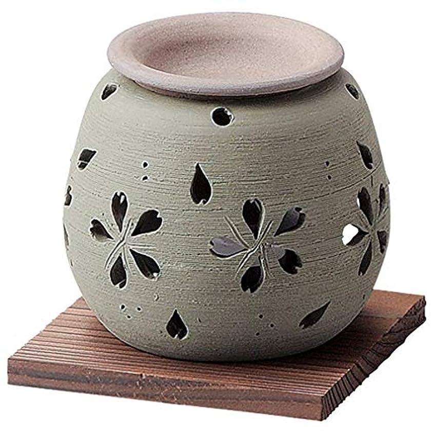 本土鮮やかな言い直すお部屋の消臭に!■常滑焼【茶香炉】石龍作 緑桜茶香炉
