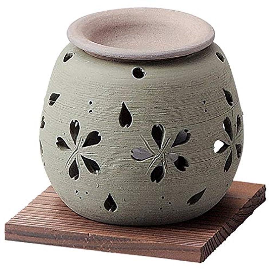 マングル軽ノベルティお部屋の消臭に!■常滑焼【茶香炉】石龍作 緑桜茶香炉