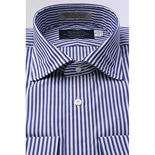 (スキャッティ) SCHIATTI 80番手 双糸 ブロード 白 ブルー ロンドンストライプ ワイドカラー (細身) ドレスシャツwd2043-4386