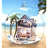 オシャレな球体ガラス 組立式 ミニチュア ドール ハウス 音感センサー搭載 専用フックで上から吊るせます