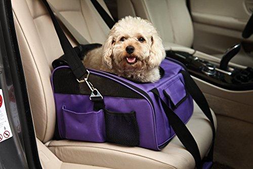 君のベイマックス ドライブボックス 犬 猫 キャリーケース スリング ペットカーシート 顔出し可能 通気性抜群 折りたたみ 軽量 折りたたみ おしゃれ お出かけ 旅行バッグ 斜め掛け 車載 手提げ ペットバッグ (L, パープル)