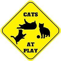 """newfdeals Cats at Play Crossing面白いメタルアルミニウムノベルティプレートギフトSign forホーム/Man Cave Decor–12"""" x 12"""" (高X幅)"""