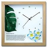 ハワイアン クロック 人工観葉植物 掛け時計 プルメリア ブルー モンステラ ナチュラル コチコチ音のしないスイープムーブメント