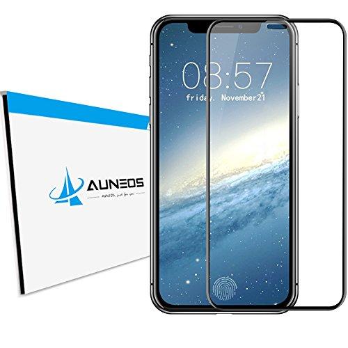 『完全密着型』 AUNEOS iPhone X フィルム iPhone X ガラスフィルム 5D全面 自己吸着 99.9%透過率 Face ID・3D Touch対応 極薄0.2mm 日本製素材旭硝子 硬度9H アイフォン X 強化ガラス (iPhone X, 黒い)