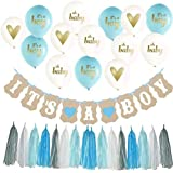 Baby Shower Decorations for Boy Kit It's A Boy Ballons It's A Boy Banner Blue White Grey Tassel Garland for Boy Nursery room Decor Kit Party Decorations Boy Baby Shower Decorations [並行輸入品]