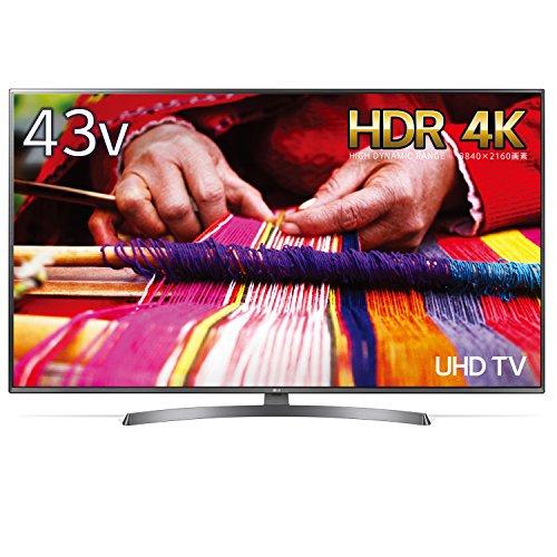43UK6500EJDの正面画像。HDRに対応していることがわかります。