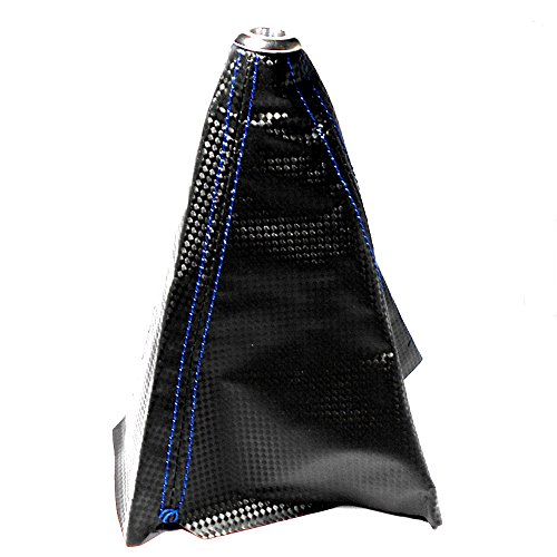 シフトブーツ カーボン 調 レザー 汎用 青