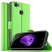 【YockTec】Moto X5 ケース 手帳型 Moto X5 カバー PUレザー ケース スタンド機能 財布型 カード収納 薄型軽量 全面保護 指紋防止 シンプル 人気 (グリーン)