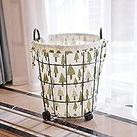 DCAH ストレージバスケット汚れた服のストレージバスケット錬鉄ヴィンテージの洗濯用ストレージバスケット洗濯バスケットおもちゃのバケツの服を邪魔する Laundry basket (色 : Green, サイズ さいず : 30 * 5 * 30 * 5 * 23cm)