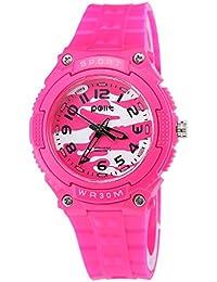 クオーツ 女の子 腕時計 日常生活用防水 ケース付き 誕生日 アナログ時計 子供用 入園式 卒業式 児童 小学生 知育 薔薇色
