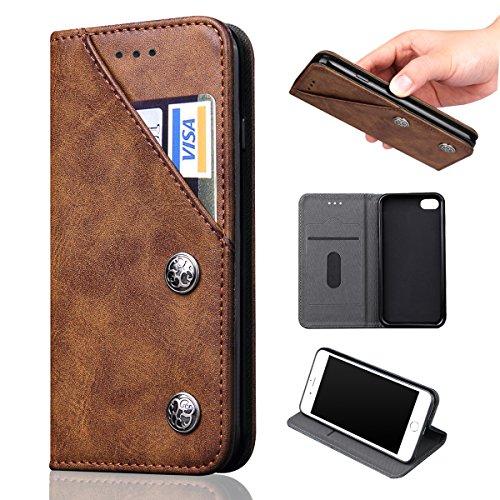 iphone 6s / iphone 6 ケース手帳型 easyBee アイホン 6s 財布型 レザーケース スタンド機能 カード入れカバー マグネット おしゃれ プレゼントに最適 全面保護 スマホケース (ブラウン)