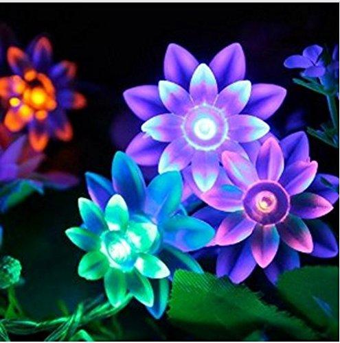 HUIMELI 【 IP44防水 】【 8モード 】 10M 80灯 はすの花太陽発電 ソーラー 充電式 LED イルミネーション 庭園ガーデンライト ロープライト 自動点灯 イルミネーション クリスマス パーティー 結婚式 (カラー)  簡単日本語説明書付