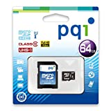 PQI microSDXCメモリカード フルHD SDアダプター付く (64GB, Class10 microSDメモリカド)