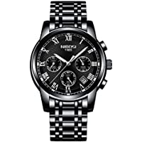NIBOSI Watches Men Sport Quartz Watches Full Steel Waterproof Wrist Watch Gift Three-eye 6-pin Solid Steel Belt Watch