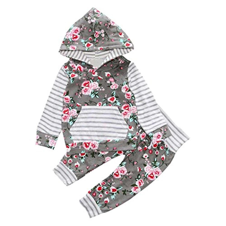 ppbuy 2pcsガールズ花柄フード付きコートトップスパンツ服装服セット 0-6M
